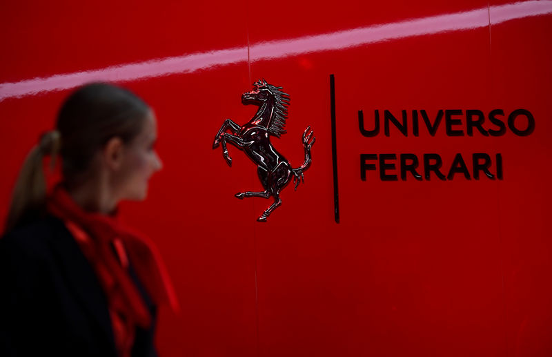 © Reuters. A Ferrari logo is pictured during the 'Universo Ferrari' exhibition, in Maranello