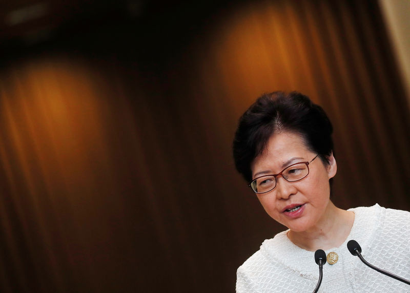 © Reuters. Hong Kong's Chief Executive Carrie Lam attends a news conference in Hong Kong