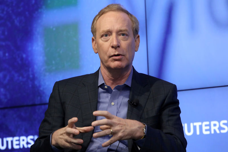 © Reuters. Microsoft President Brad Smith speaks during a Reuters Newsmaker event in New York