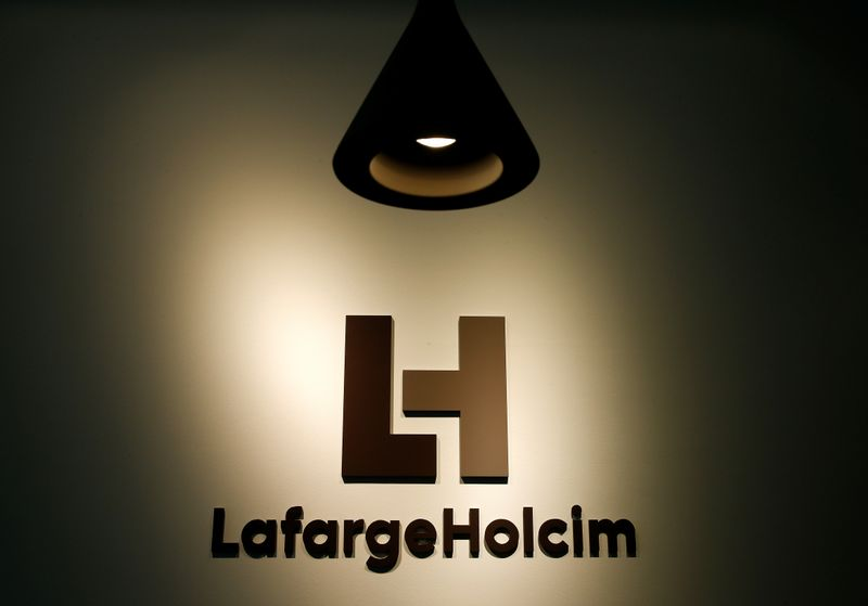 © Reuters. The company's new logo is pictured at the headquarters of LafargeHolcim in Zurich