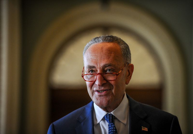 © Reuters. Schumer makes a statement after meetings to wrap up work on coronavirus economic aid legislation