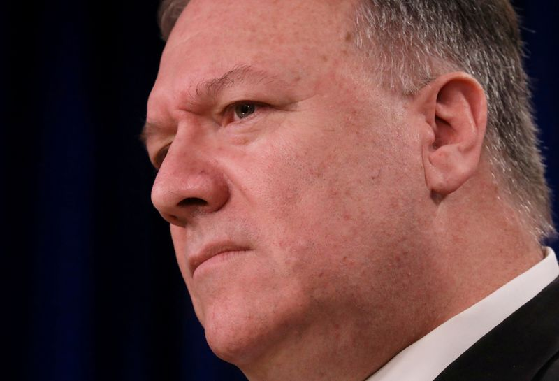 © Reuters. FILE PHOTO: U.S. Secretary of State Pompeo addresses news conference at the State Department in Washington