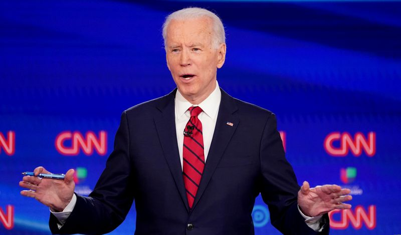 © Reuters. FILE PHOTO: Democratic U.S. presidential candidate and former Vice President Joe Biden speaks at the 11th Democratic candidates debate of the 2020 U.S. presidential campaign in Washington