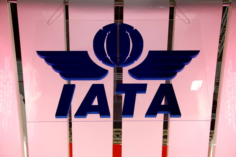© Reuters. FILE PHOTO: IATA logo is seen at the International Tourism Trade Fair ITB in Berlin