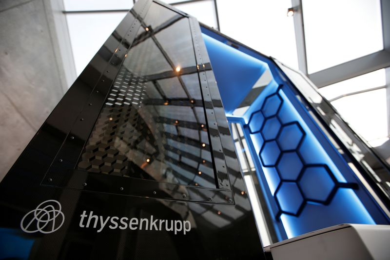 © Reuters. Model of elevator called MULTI is pictured inside Thyssenkrupp's elevator test tower in Rottweil
