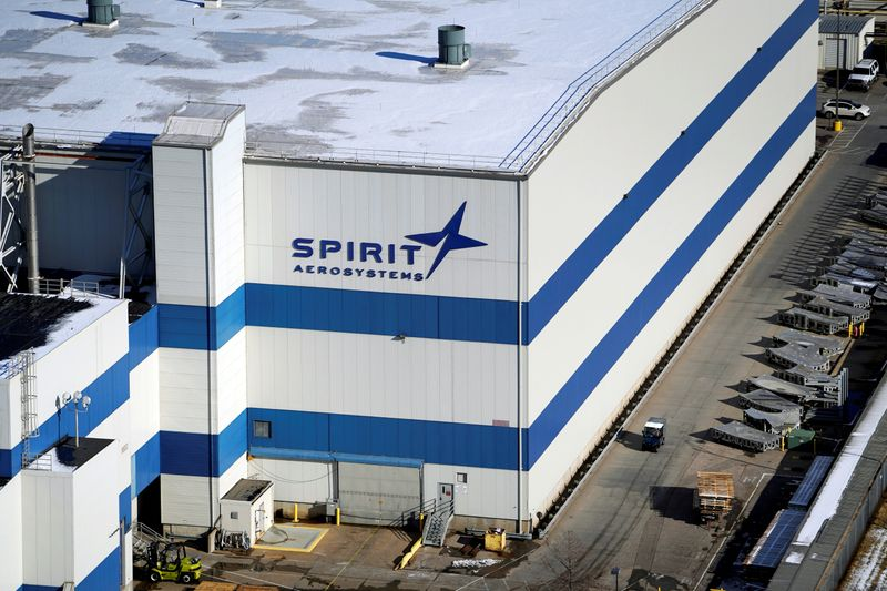 © Reuters. FILE PHOTO:  The headquarters of Spirit AeroSystems Holdings Inc, is seen in Wichita