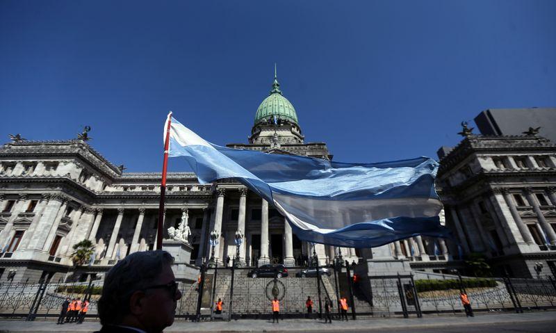© Reuters. Флаг Аргентины перед зданием аргентинского Конгресса в Бэйнос-Айресе
