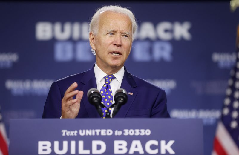 © Reuters. FILE PHOTO: Democratic presidential candidate Joe Biden holds campaign event in Wilmington, Delaware