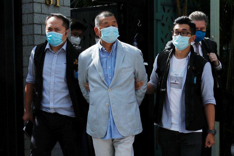 © Reuters. HONG KONG: ARRESTATION DU PATRON DE PRESSE ET ACTIVISTE JIMMY LAI