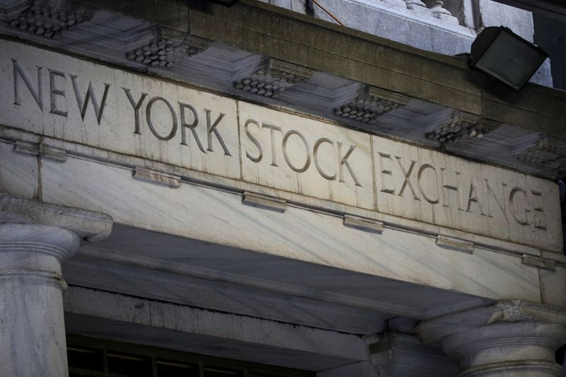 © Reuters. The 11 Wall St. door of the NYSE is seen in New