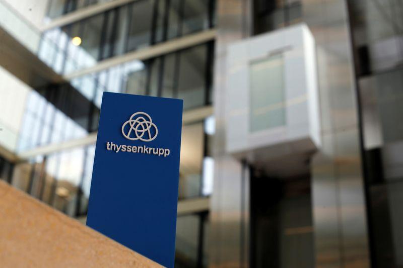 © Reuters. The logo of Thyssenkrupp is seen near elevators in its headquarters in Essen