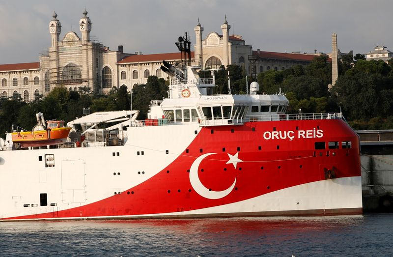 © Reuters. FILE PHOTO: Turkish seismic research vessel Oruc Reis is seen in Istanbul