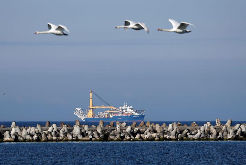 © Reuters. FILE PHOTO: Pipe-laying vessel Akademik Cherskiy is seen in a bay near the Baltic Sea port of Baltiysk