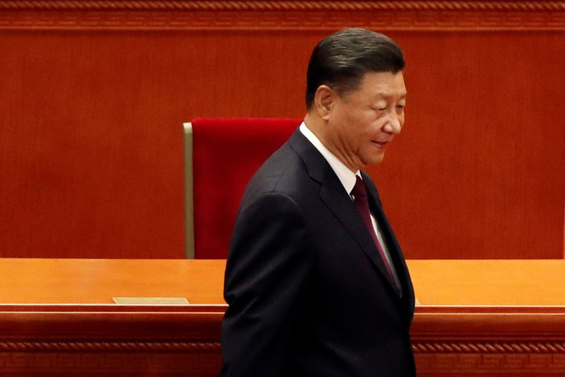 © Reuters. Chinese President Xi Jinping arrives for a meeting in Beijing