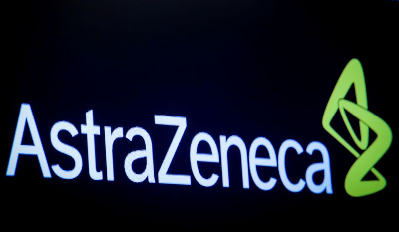 © Reuters. FILE PHOTO: The company logo for pharmaceutical company AstraZeneca is displayed on a screen on the floor at the NYSE in New York