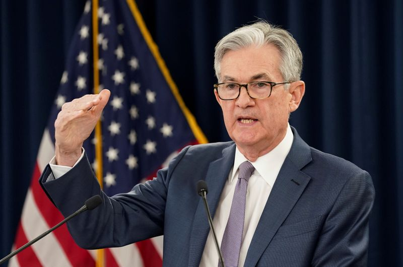 © Reuters. FILE PHOTO: FILE PHOTO: U.S. Federal Reserve Chairman Jerome Powellspeaks in Washington