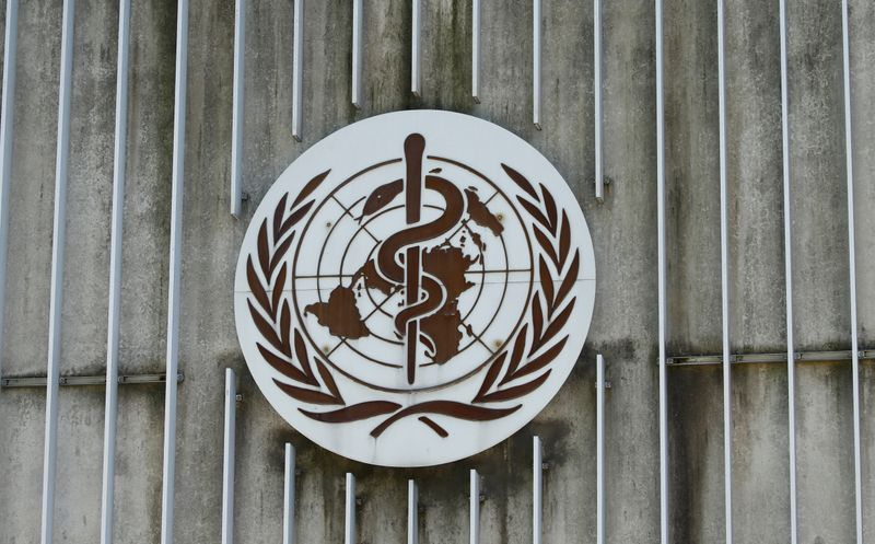 © Reuters. A logo is pictured on the headquarters of the WHO in Geneva