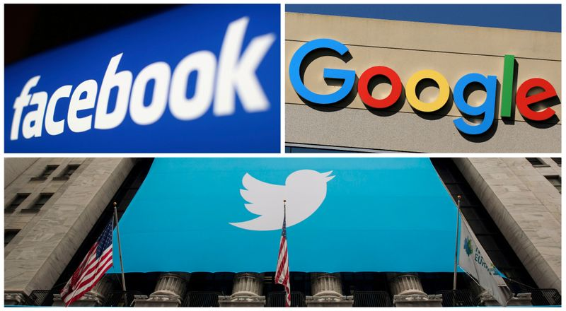 © Reuters. FILE PHOTO: A combination photo from files of Facebook Google and Twitter logos