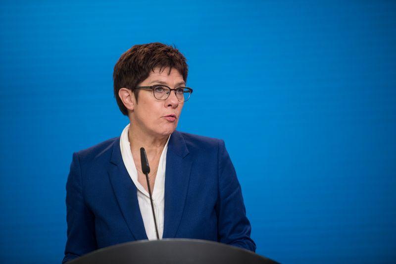 © Reuters. German Defence Minister Kramp-Karrenbauer speaks to media in Berlin