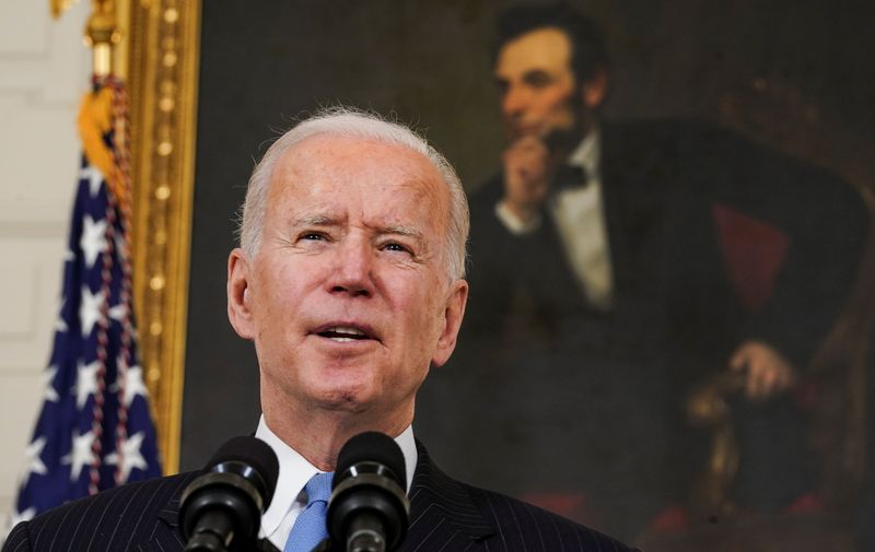 Biden says U.S. on track to enough vaccines for every adult in U.S. by end-May