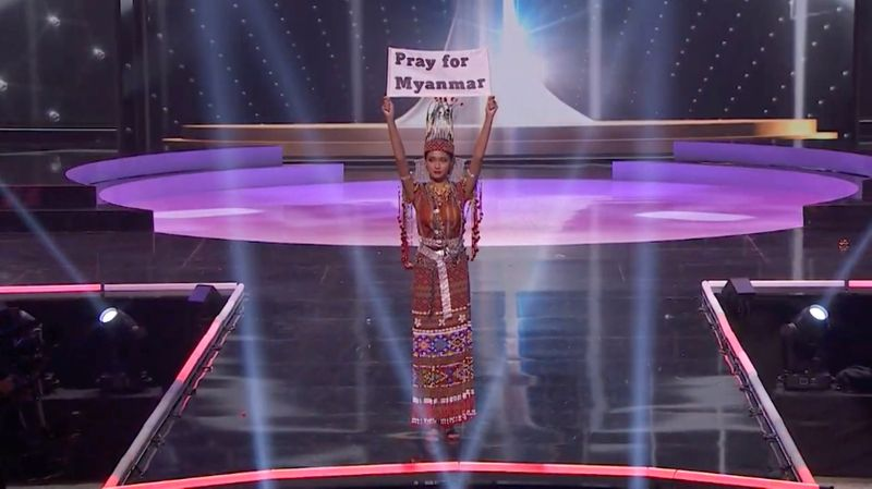 At Miss Universe pageant, Myanmar's contestant pleads